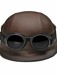 cheap -Half Face Motorcycle Helmet Retro Flexible ABS Street Motorcycle Helmet Brown Color