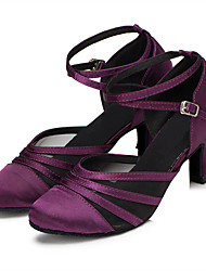 Women's Latin Ballroom Dance Shoes Satin Upper Suede Soft Leather Outsole Salsa Dancing Shoes For Women Black/Purple Customizable