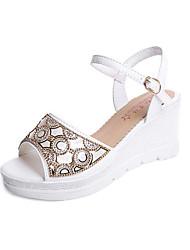 cheap -Women's Sandals Spring Summer Club Shoes Comfort Sweet All Match Fashion Peep Toe Dress Casual Wedge Heel Rhinestone Buckle