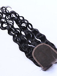 Недорогие -Бразильские волосы 4x4 Закрытие Свободные волны Бесплатный Часть / Средняя часть / 3 Часть Швейцарское кружево Натуральные волосы