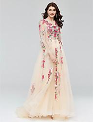 Linha A Princesa Decorado com Bijuteria Cauda Corte Tule Evento Formal Vestido com Apliques Detalhes em Cristal Faixa de Huaxirenjiao