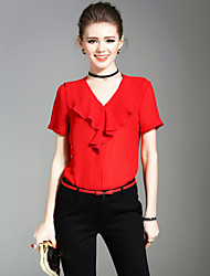 XSSLWomen's Going out Casual/Daily Holiday Simple Cute Street chic Summer BlouseSolid V Neck Short Sleeve Polyester Medium