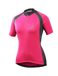 cheap -Arsuxeo Women's Short Sleeve Cycling Jersey - Fuchsia Solid Color Bike Jersey Top, Quick Dry Front Zipper Soft, Spring Summer, Polyester Spandex / Stretchy