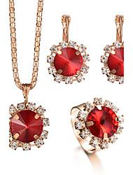 abordables -Mujer Los sistemas nupciales de la joyería Anillo Collar / pendientes Cristal Lujo Circular Diamantes Sintéticos Moda Ajustable