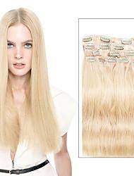 billiga -9st / set deluxe 120g # 613 blond klämma i hårförlängningar 16inch 20inch 100% rak mänskligt hår