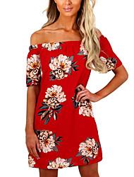 Mulheres Boho Bainha Vestido - Frente Única, Floral Decote Canoa Cintura Alta