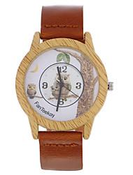 cheap -Top brand Men's Bamboo Wooden Bamboo Watch Owl Quartz Leather Strap Men Watches