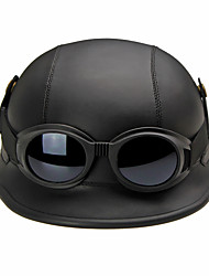 cheap -Half Face Motorcycle Helmet Retro Flexible ABS Street Motorcycle Helmet Black Color