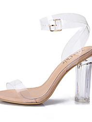 cheap -Women's Shoes PVC(Polyvinyl chloride) Spring / Summer Transparent Shoes Sandals Chunky Heel / Block Heel Peep Toe Buckle White / Party & Evening / Party & Evening