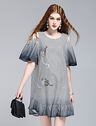 cheap -8CFAMILY Women's Daily Going out Cute Street chic Sophisticated A Line Shirt Dress,Striped Round Neck Above Knee Short Sleeves Cotton Summer Mid