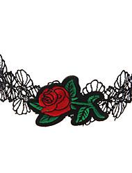 Недорогие -Жен. Ожерелья-бархатки Кружево Массивный Уникальный дизайн Камни Хип-хоп Многодорожечная одежда Красный Ожерелье Бижутерия Назначение