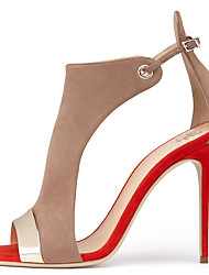 cheap -2018 Women's Red and Beige Peep toe High Heel Sandals Ladies Spring Summer Slingback Shoes Two-piece Covered Heel Stilettos