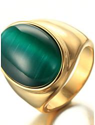 cheap -Men's Ring Statement Ring Acrylic Green Titanium Steel Geometric Personalized Euramerican Hip-Hop Fashion Rock Punk Party Anniversary