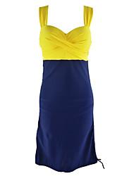 cheap -Women's Sports  Patchwork Cross Push Up Yellow/Red Tankini Swimsuits