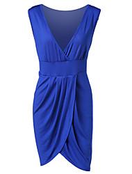 billige -Dame Plusstørrelser Bodycon Kjole - Ensfarvet Over knæet Dyb V