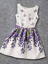 Girl's Daily Holiday School Print Dress,Polyester Summer Sleeveless Floral White