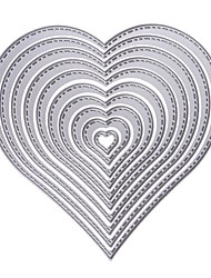 cheap -10Pcs Heart Stencils Metal Cutting Dies Diy Scrapbooking Decorative Paper Cards Template Cut Dies Accessory