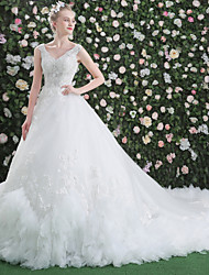 cheap -Ball Gown V-neck Cathedral Train Lace Tulle Wedding Dress with Appliques Cascading Ruffles by QZ