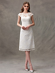 cheap -A-Line Illusion Neckline Knee Length Lace Wedding Dress with Lace Draped by LAN TING BRIDE®
