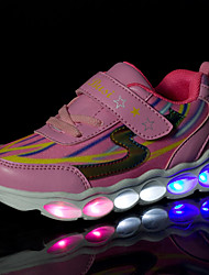cheap -Girls' Sneakers Summer Fall Light Up Shoes Comfort Novelty PU Outdoor Athletic Casual Flat Heel Magic Tape LED Lace-up Blushing Pink Blue