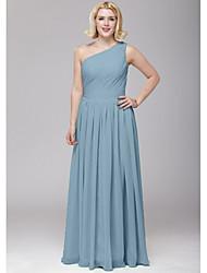cheap -A-Line One Shoulder Floor Length Chiffon Bridesmaid Dress with Sash / Ribbon / Side Draping by LAN TING BRIDE®