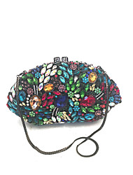 cheap -Women Bags PU Metal Clutch Crystal/ Rhinestone Flower for Wedding Event/Party Formal Office & Career All Seasons Blue Green