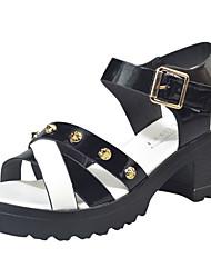 economico -Da donna Sandali Club Shoes PU (Poliuretano) Primavera Estate Casual Formale Club Shoes Borchie Fibbia Quadrato Bianco Nero 5 - 7 cm