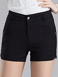 cheap -Women's Plus Size High Rise Slim Shorts Pants, Fashion Solid Cotton Summer