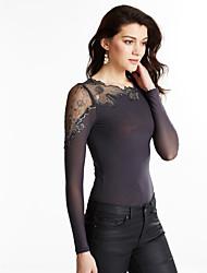 T-shirt Da donna Per uscire / Casual Semplice Autunno,Tinta unita Asimmetrico Poliestere Nero / Grigio Manica lunga Medio spessore
