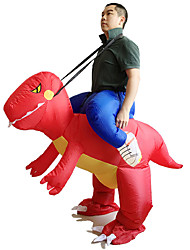 cheap -Inflatable Red Dinosaur Costume Adult Fancy Dress Costume Jump Suit Disfraces Adultos Hen Stag Outfit Cosplay