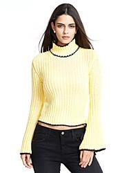 Standard Pullover Da donna-Casual Semplice Tinta unita A collo alto Manica lunga Cashmere Poliestere Autunno Medio spessoreMedia