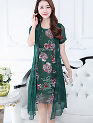 Women's Going out Street chic Two Piece Dress,Floral Round Neck Knee-length Short Sleeve Nylon Spring Summer Mid Rise Micro-elastic Medium