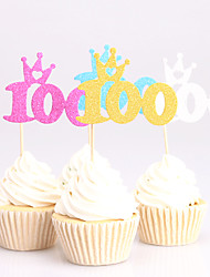 cheap -Cake Topper Classic Theme Card Paper Anniversary Birthday Baby Shower Quinceañera & Sweet Sixteen With Carved Design OPP