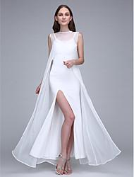 cheap -Sheath / Column Bateau Neck Ankle Length Chiffon Jersey Bridesmaid Dress with Split Front by LAN TING BRIDE®