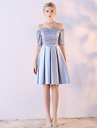 Linha A Justo & Evasê Sem Alças Até os Joelhos Renda Chiffon Acetinado Coquetel Vestido com Renda de Embroidered Bridal