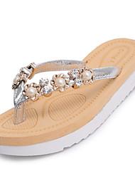 Недорогие -Для женщин Тапочки и Шлепанцы Для прогулок Удобная обувь сутулятся сапоги Полиуретан Лето Повседневные Жемчуг На плоской подошвеЧерный