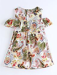 cheap -Girl's Print Lattice Dress,Cotton Summer Short Sleeve