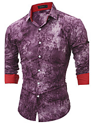 Men's All Seasons Fashion Print Slim Fit Long Sleeve Casual Shirt Cotton Polyester Medium