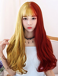 cheap -Women Synthetic Wigs Japan and South Korea fashion long gold mixed red Bang Wavy Heat Friendly Fiber wig