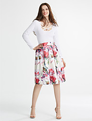 cheap -Women's Daily Going out Knee-length Skirts,Vintage A Line Acrylic Polyester Floral Print All Seasons