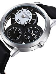 levne -SKONE Pánské Módní hodinky japonština Křemenný Hodinky s dvojitým časem Kůže Kapela Černá Hnědá
