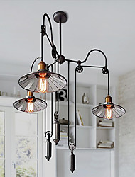 cheap -Ecolight® Vintage Pully Pendant Lights 3 Island Foyer Dinning Study Metal+ Galss inside shade