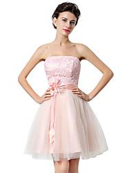 Linha A Justo & Evasê Sem Alças Curto / Mini Tule Coquetel Reunião de Classe Vestido com Flor(es) de Sarahbridal
