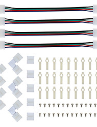 cheap -LED Strip Connector and Mount Bracket 5050 RGB Strip Light Connector L Shape Solderless Snap Down 4 Conductor LED RGB Connector for Right Angle Cor