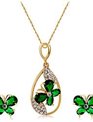 Ciondoli Collana Orecchini Set Cristallo Di tendenza Euramerican Cristallo Strass Lega Farfalla 1 collana 1 paio di orecchini Per