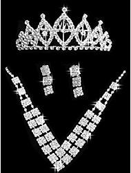 Set di gioielli Gioielli di Lusso Strass Quadrato 1 collana 1 paio di orecchini 1 gioiello per capelli PerMatrimonio Feste Compleanno