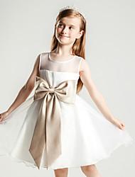 Vestido feminino princesa de joelho com flor de joelho - gola de organza sem mangas com pregas por liyuan