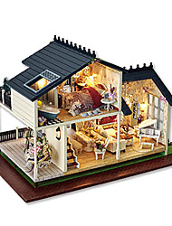 Dollhouse Toys DIY Square House Wood Pieces Male Unisex Birthday Gift