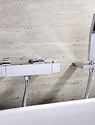 Contemporary Wall Mounted Thermostatic Ceramic Valve Two Handles Three Holes Chrome , Bathtub Faucet