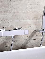 Contemporain Montage mural Thermostatique with  Soupape céramique Deux poignées trois trous for  Chrome , Robinet de baignoire